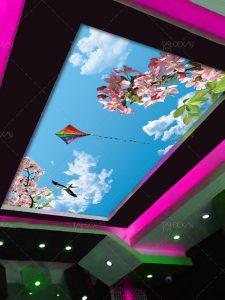 طرح آسمان مجازی روز آفتابی با شکوفه های صورتی و پرنده PSD لایه باز