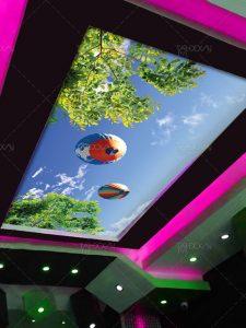 طرح لایه باز آسمان مجازی هوای آفتابی و بالن های زیبا فایل PSD با کیفیت