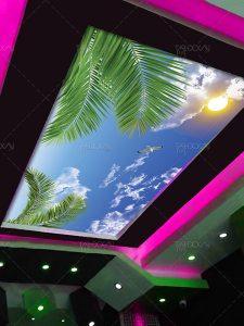 طرح سقف آسمان مجازی آفتابی با برگ درخت نخل فایل PSD فتوشاپ