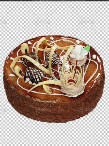 عکس کیک شکلاتی PNG با تزئینات زیبا دور بری شده بدون پس زمینه