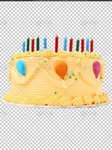 عکس کیک تولد زیبا دور بری شده با شمع های رنگی فایل PNG با کیفیت