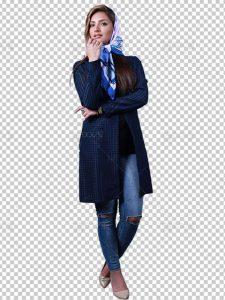عکس بدون بک گراند مدل دختر با مانتو شیک با دوربری دقیق فایل PNG