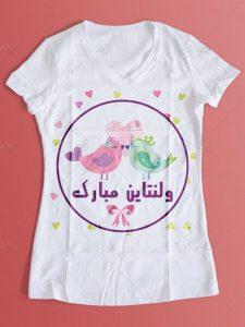 طرح لایه باز تی شرت ولنتاین با عکس پرنده های کارتونی و قلب های زیبا