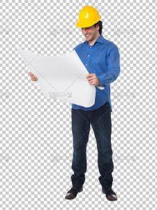 عکس مهندس دوربری PNG با کیفیت بالا و سایز بزرگ با نقشه در دست