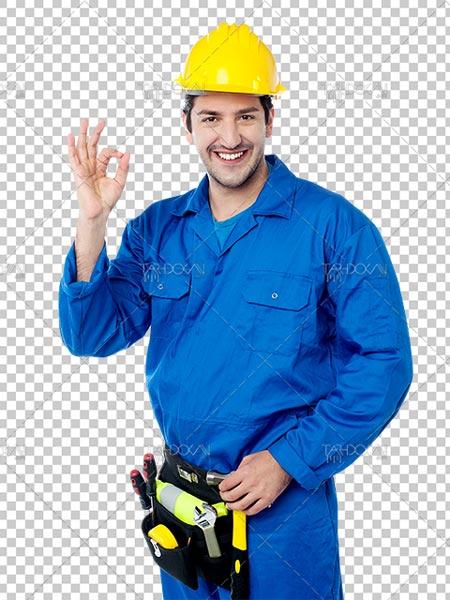 دانلود عکس مهندس PNG دوربری شده با کیفیت بالا دارای کلاه ایمنی