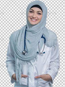 عکس پرستار زن با حجاب و پوشش اسلامی PNG با کیفیت بالا دوربری شده