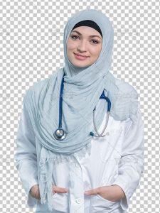عکس پزشک زن با حجاب و عفاف اسلامی PNG بدون بک گراند با کیفیت