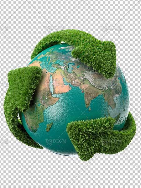 عکس کره زمین و بازیافت زباله دوربری شده PNG با سایز و کیفیت بالا