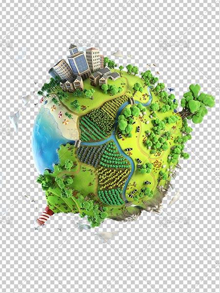 عکس کره زمین پاک و سر سبز با محیط زیست سالم PNG دور بری شده