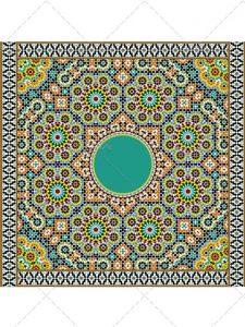 طرح وکتور کاشی کاری سنتی و ایرانی فایل EPS با طراحی حرفه ای