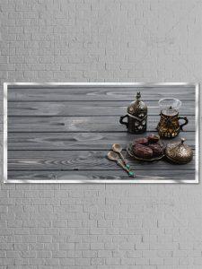 عکس بکگراند ماه رمضان از چای، خرما و قاشق سایز بزرگ با کیفیت بالا