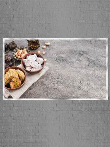 پس زمینه ماه رمضان عکس با کیفیت بسیار بالا از خرما، چای و شیرینی
