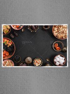 عکس استوک ماه رمضان از انواع خوراکی ها روی میز با کیفیت بسیار بالا
