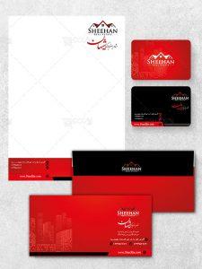 ست اداری مشاور املاک طرح PSD لایه باز با طراحی زیبا و رنگ قرمز و مشکی
