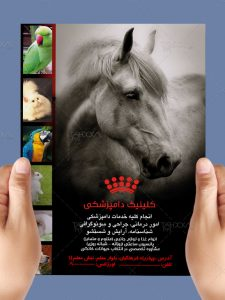 تراکت تبلیغاتی دامپزشکی رنگی طرح PSD لایه باز A4 با طراحی شیک