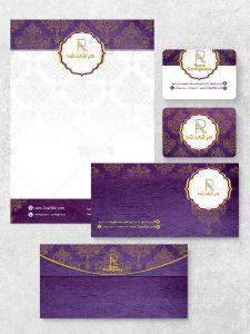 طرح ست اداری کلاسیک PSD لایه باز شامل سربرگ، پاکت اداری و کارت ویزیت
