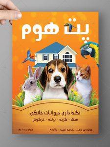 تراکت نگه داری حیوانات خانگی رنگی PSD لایه باز A4 با کیفیت بالا