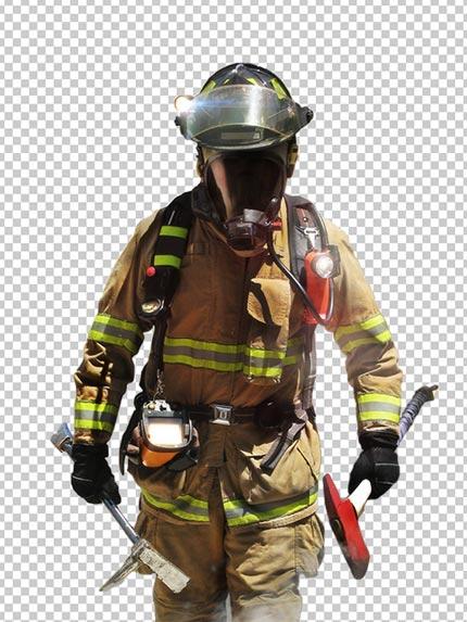 عکس آتش نشان PNG دوربری با کیفیت بالا و سایز بزرگ با تبر در دست
