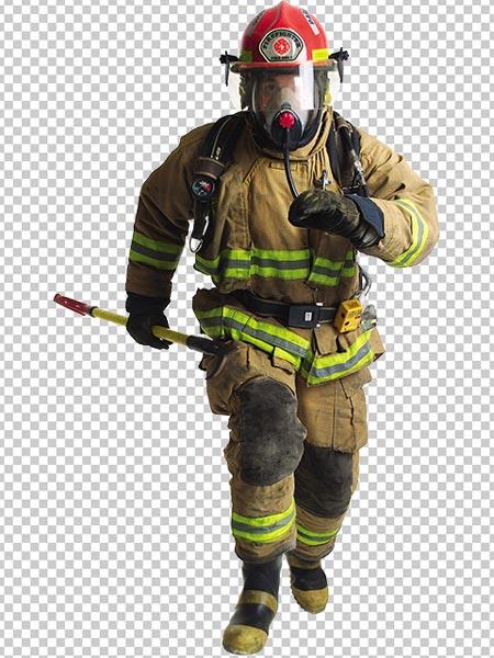 دانلود عکس آتش نشان PNG دوربری شده در حال دویدن با کیفیت بالا