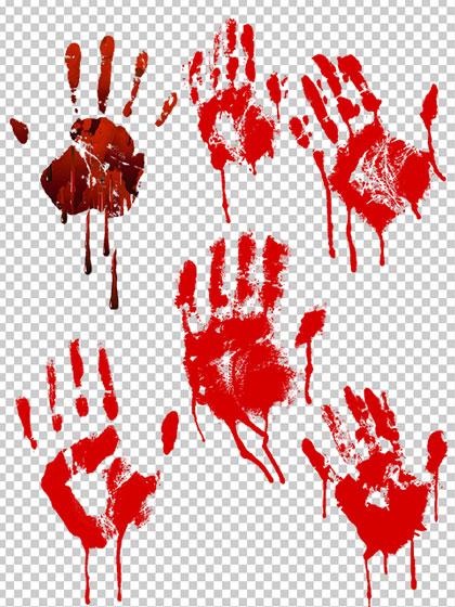 تصاویر دست خونین PNG دوربری شده با کیفیت بالا و طراحی زیبا
