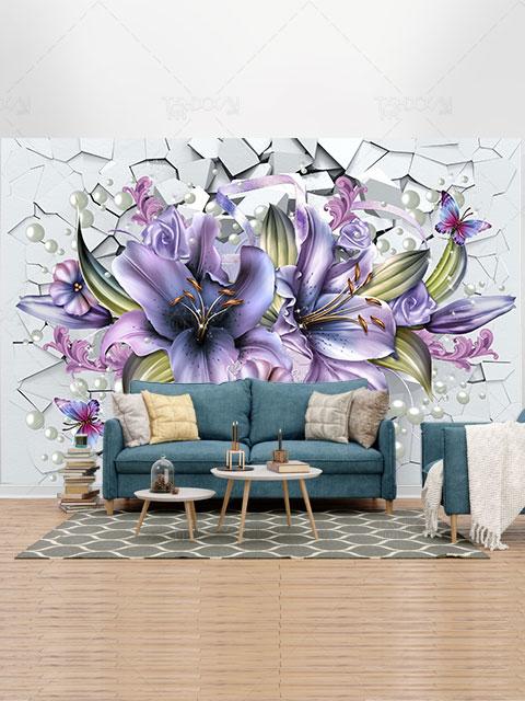 طرح کاغذ دیواری 3 بعدی گل سوسن