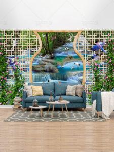 طرح کاغذ دیواری آبشار و پرندگان سه بعدی با کیفیت بالا بسیار زیبا