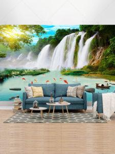 طرح کاغذ دیواری سه بعدی کوه و آبشار و ماهی های قرمز در برکه