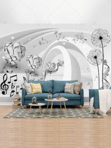 دانلود طرح کاغذ دیواری سه بعدی قاصدک و نت های موسیقی PSD لایه باز