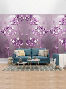 دانلود طرح کاغذ دیواری گل های بنفش سه بعدی طراحی زیبا با کیفیت بالا