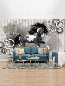 طرح لایه باز کاغذ دیواری سه بعدی اسب با بک گراند فانتزی فایل PSD