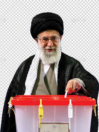 دانلود عکس رهبر در حال رای دادن