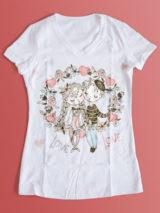 طرح تیشرت روز ولنتاین و روز عاشقان لایه باز با تصویر دختر و پسر و شاخه گل