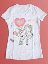 دانلود طرح آماده تیشرت ولنتاین PSD لایه باز دختر بچه کارتونی و گل