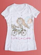 طرح آماده تیشرت روز ولنتاین PSD لایه باز با عکس دختربچه روی دوچرخه