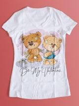 دانلود طرح تیشرت ولنتاین با عکس خرس های عروسکی PSD لایه باز