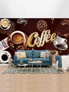 طرح کاغذ دیواری کافی شاپ PSD لایه باز با المان های قهوه و شکلات