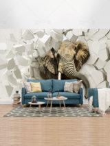 طرح کاغذ دیواری سه بعدی فیل و دیوار شکسته PSD لایه باز با کیفیت بالا