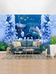 کاغذ دیواری سه بعدی طرح دلفین و ماهی زیر اقیانوس PSD لایه باز