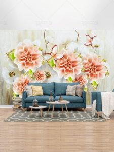 طرح کاغذ دیواری سه بعدی مدرن گل های صورتی شیک پشت تلویزیون