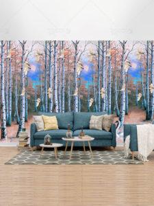 دانلود طرح کاغذ دیواری جنگل درخت توس و قوهای زیبا با کیفیت بالا