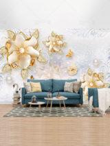 کاغذ دیواری سه بعدی گل های طلایی و قوهای زیبا طرح PSD لایه باز