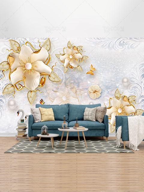 کاغذ دیواری سه بعدی گل های طلایی