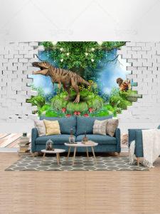 طرح کاغذ دیواری 3 بعدی اتاق کودک لایه باز با تصاویر دایناسور و جنگل