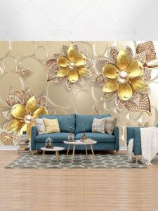 طرح کاغذ دیواری سه بعدی گل های طلایی با مروارید PSD لایه باز شیک و زیبا