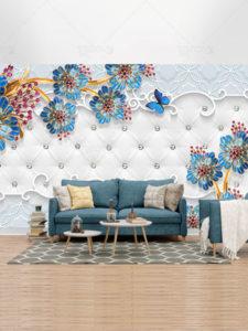 طرح آماده کاغذ دیواری سه بعدی گل های آبی و دکوراسیون PSD لایه باز