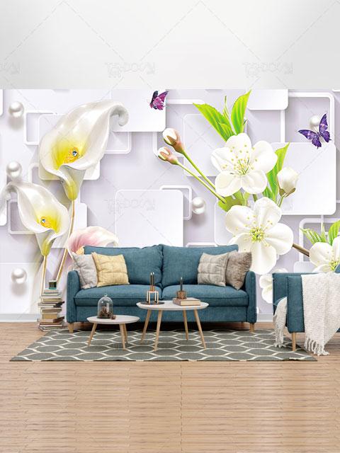 طرح کاغذ دیواری سه بعدی گل شیپوری