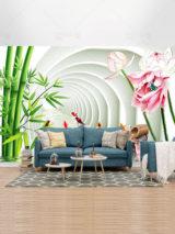 طرح کاغذ دیواری بامبو و گل نیلوفر و ماهی قرمز در برگه سه بعدی لایه باز