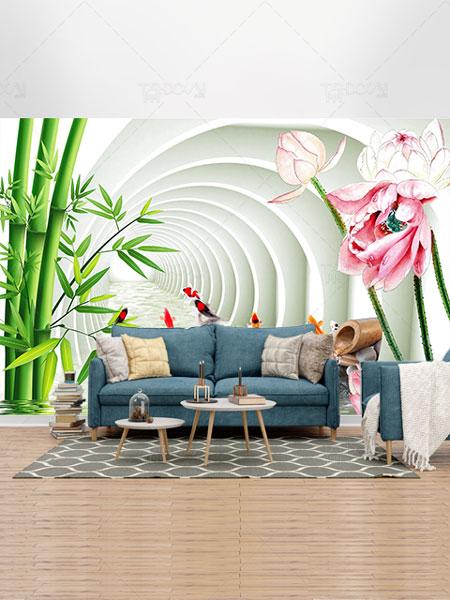 طرح کاغذ دیواری بامبو
