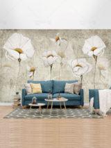 کاغذ دیواری طرح گل قدیمی سفید فایل PSD لایه باز زیبا و شیک