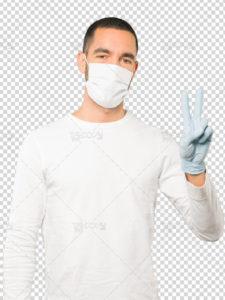 عکس مرد با ماسک و دستکش پزشکی دوربری شده PSD لایه باز با کیفیت